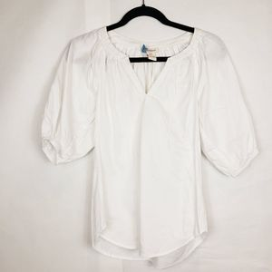 Sundance white blouse puffed sleeves